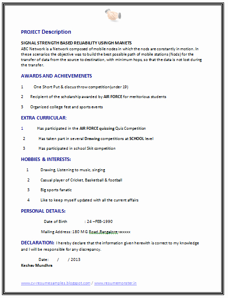 Computer Science Resume Template Beautiful Over Cv and Resume Samples with Free Download