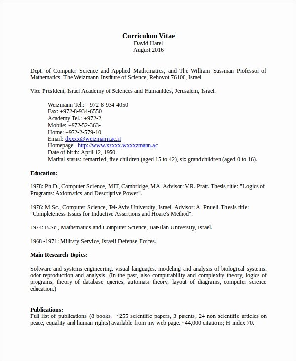Computer Science Resume Template Fresh Sample Puter Science Resume 8 Examples In Word Pdf