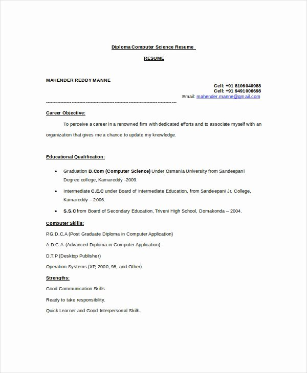 Computer Science Resume Template Lovely Pin On Resume