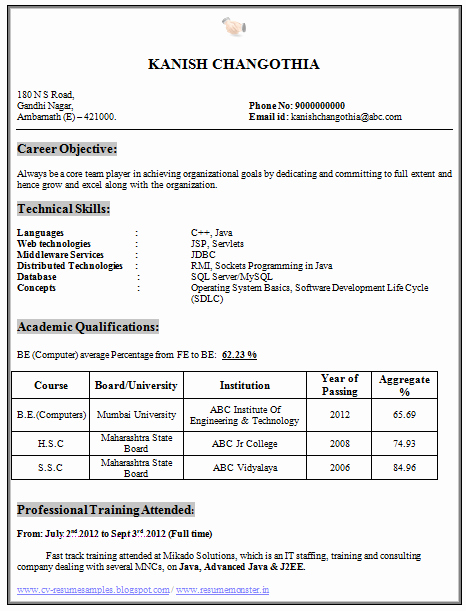 Computer Science Resume Template New Over Cv and Resume Samples with Free Download Be