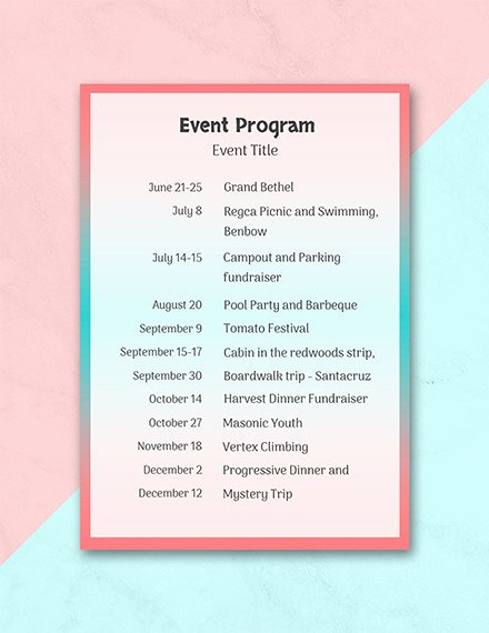 Concert Program Template Free Awesome Free 25 Program Examples In Pdf Ai Pages