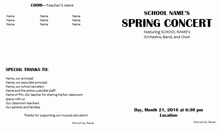 Concert Program Template Free Awesome Teaching Elementary orchestra Template for A Concert