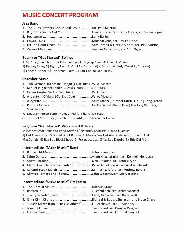 Concert Program Template Free Beautiful Concert Program Template