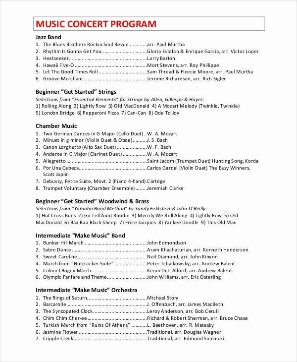 Concert Program Template Free Beautiful Concert Program Template