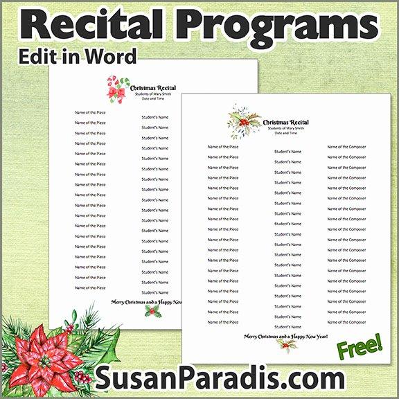 Concert Program Template Free Best Of Recital Program Templates to Personalize Susan Paradis