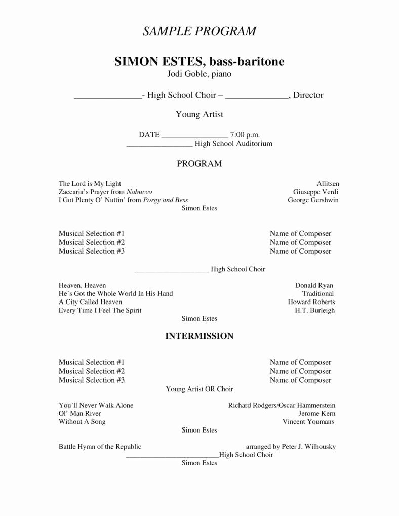Concert Program Template Free Elegant 7 Concert Program Templates Pdf