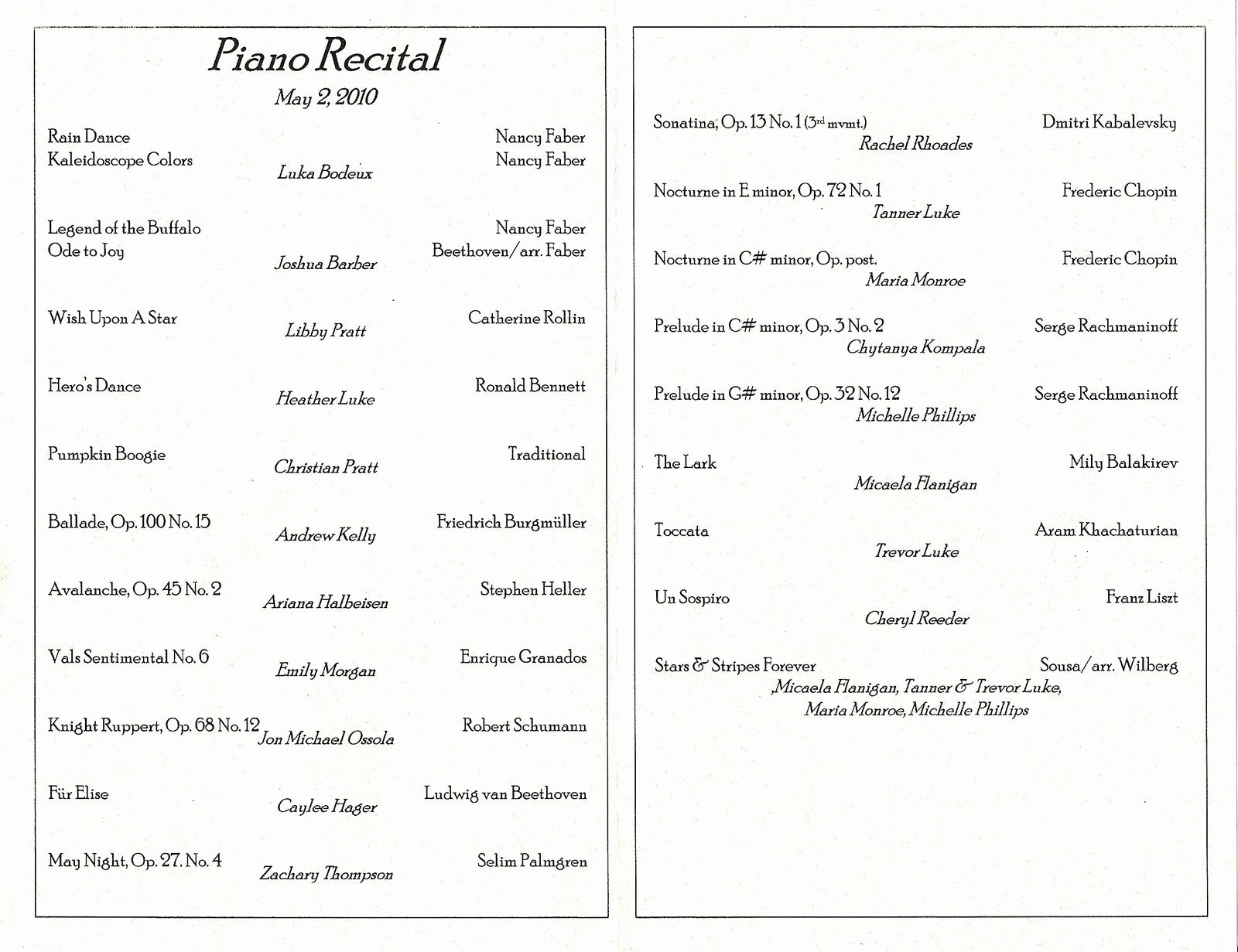 christmas piano recital program template