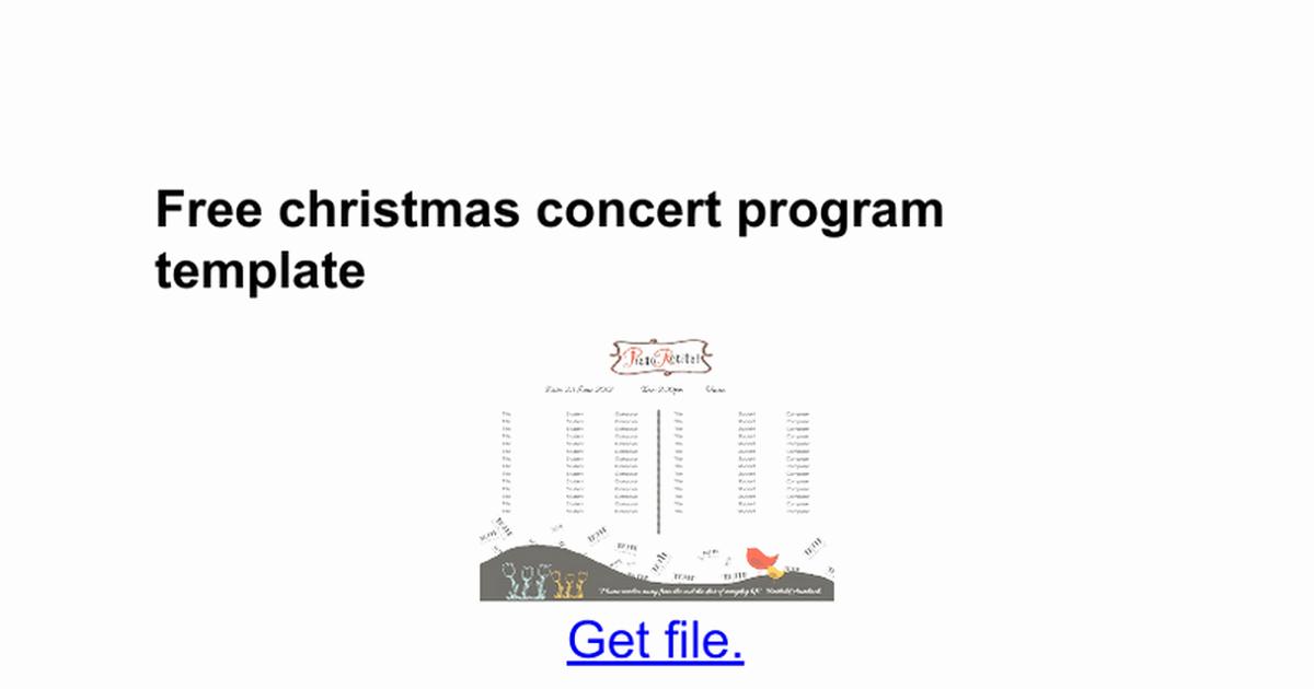 Concert Program Template Free Inspirational Free Christmas Concert Program Template Google Docs