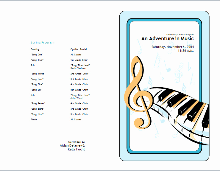 Concert Program Template Free Lovely School Concert event Brochure Template