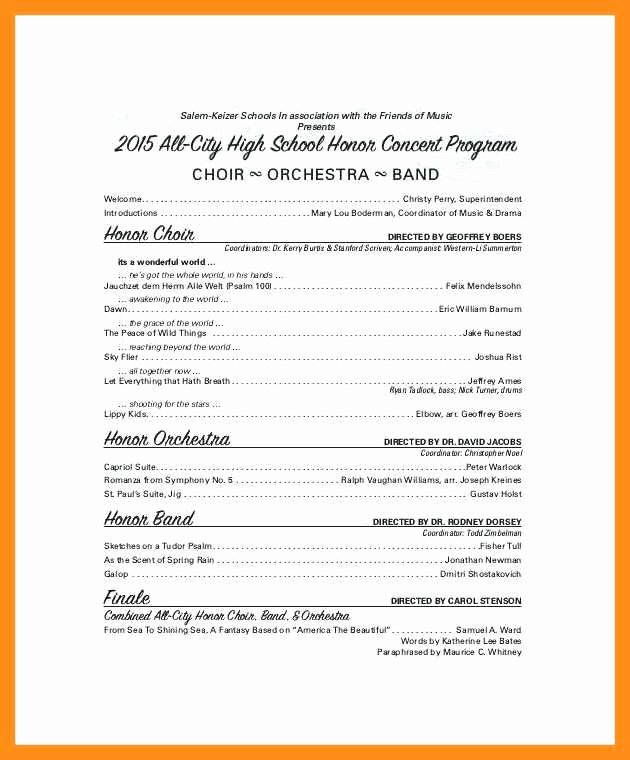 Concert Program Template Free New 10 11 Concert Program Word Template