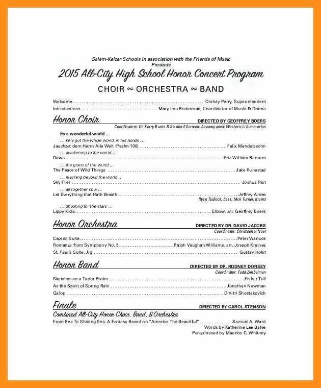 Concert Program Template Free New 10 11 Concert Program Word Template