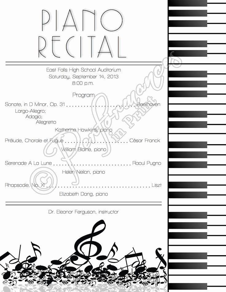 Concert Program Template Free New top 25 Ideas About Piano Recital On Pinterest