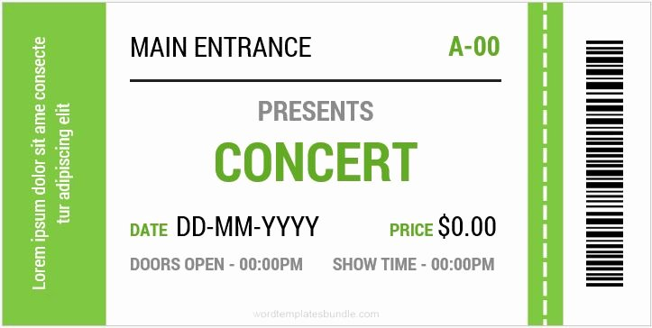 Concert Ticket Template Free Elegant Concert Ticket Templates for Ms Word