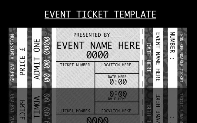 Concert Ticket Template Free Elegant Modern Admission Ticket Template Design In Monochrome with