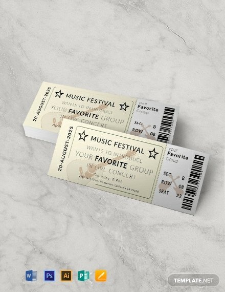 Concert Ticket Template Free Lovely 439 Free Ticket Templates Word Psd Indesign