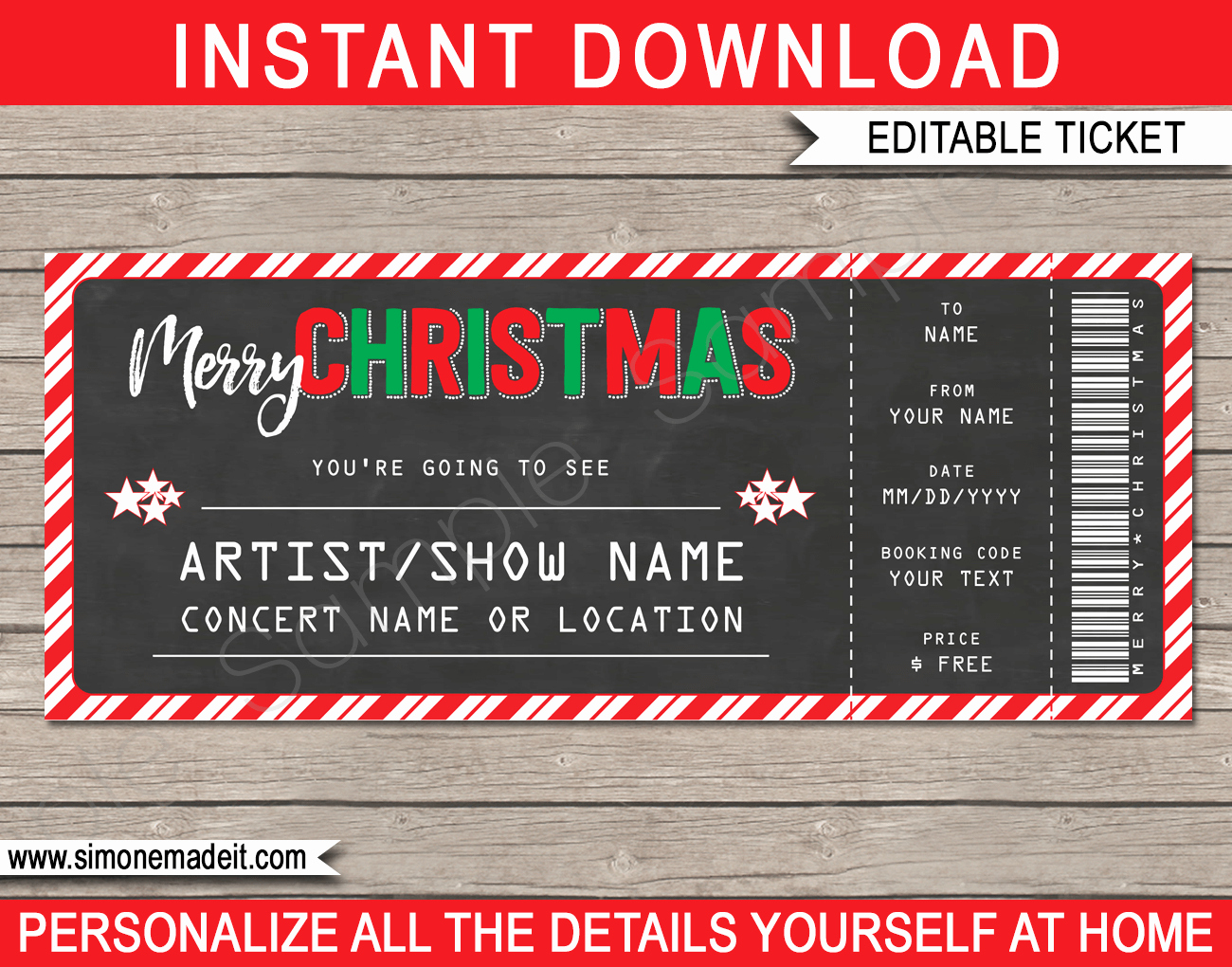 Concert Ticket Template Free Luxury Christmas Gift Concert Ticket Template