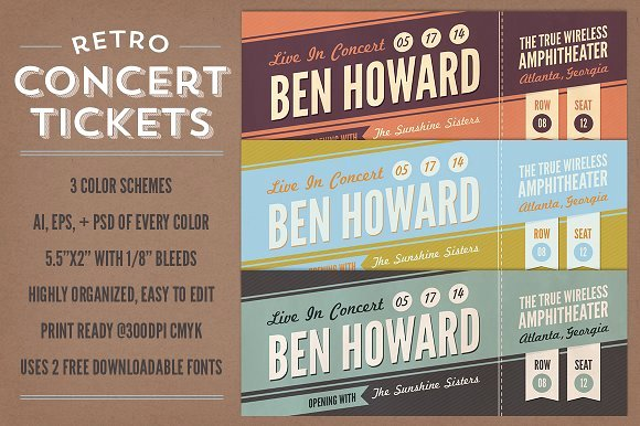 Concert Ticket Template Psd Awesome Retro Concert Tickets Stationery Templates Creative Market