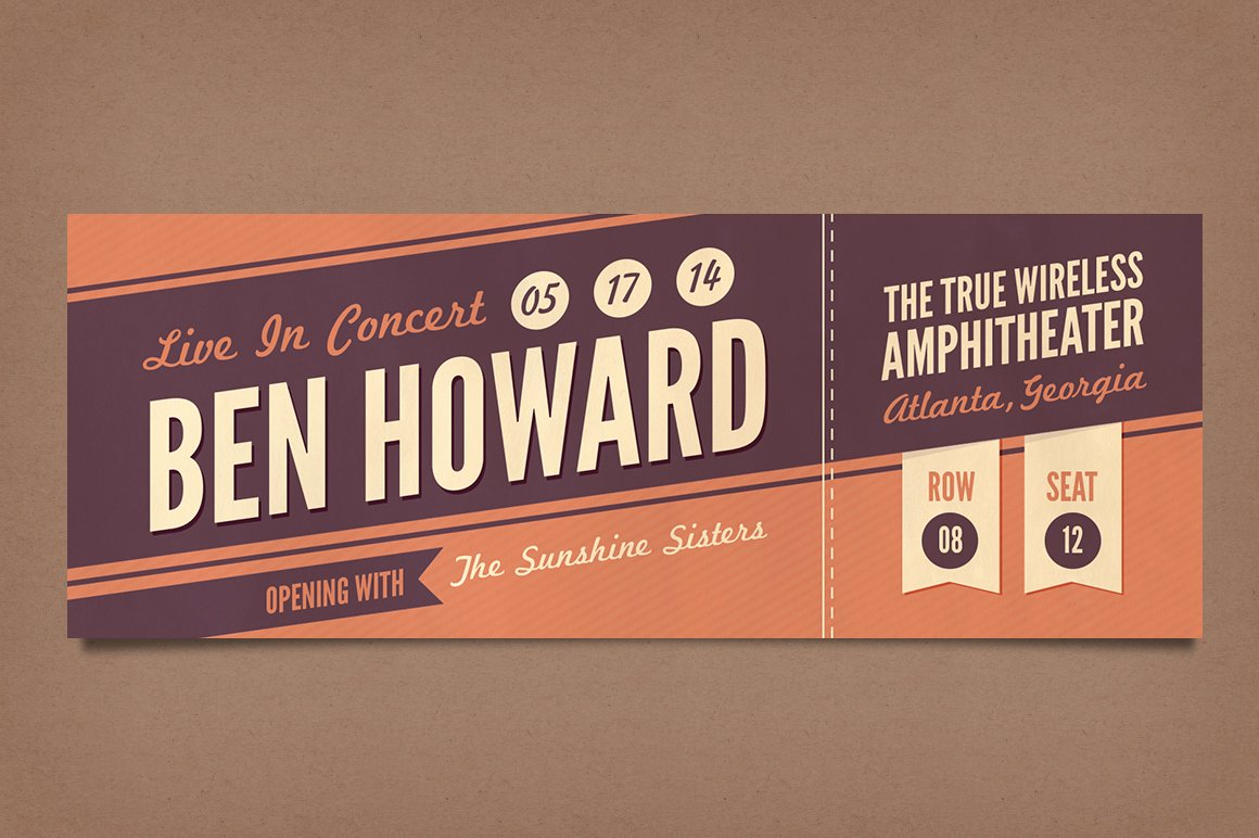 Concert Ticket Template Psd Beautiful Retro Concert Tickets Stationery Templates On Creative