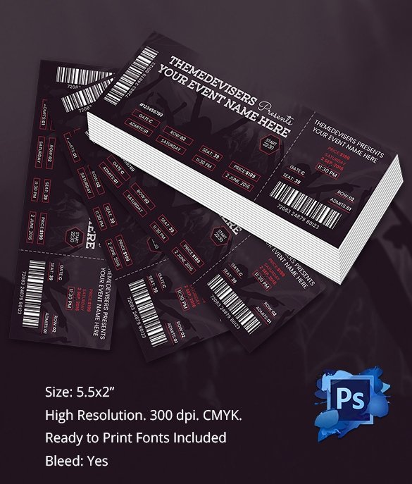 Concert Ticket Template Psd Best Of Ticket Template – 91 Free Word Excel Pdf Psd Eps