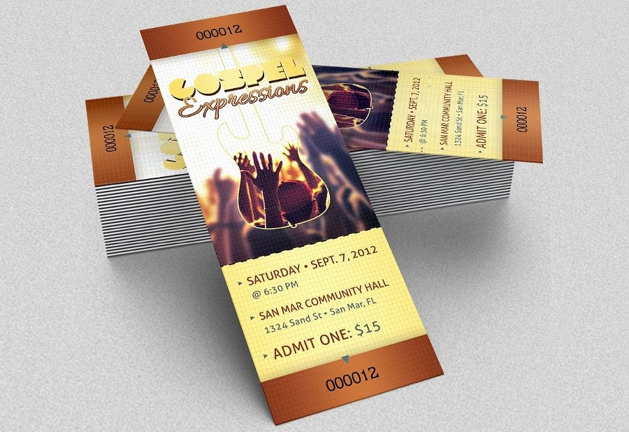 Concert Ticket Template Psd Elegant 21 event Ticket Mockups