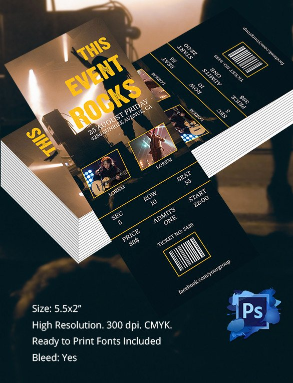 Concert Ticket Template Psd Elegant Ticket Template – 91 Free Word Excel Pdf Psd Eps