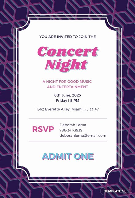 Concert Ticket Template Psd Fresh Free Concert Ticket Invitation Template Download 344