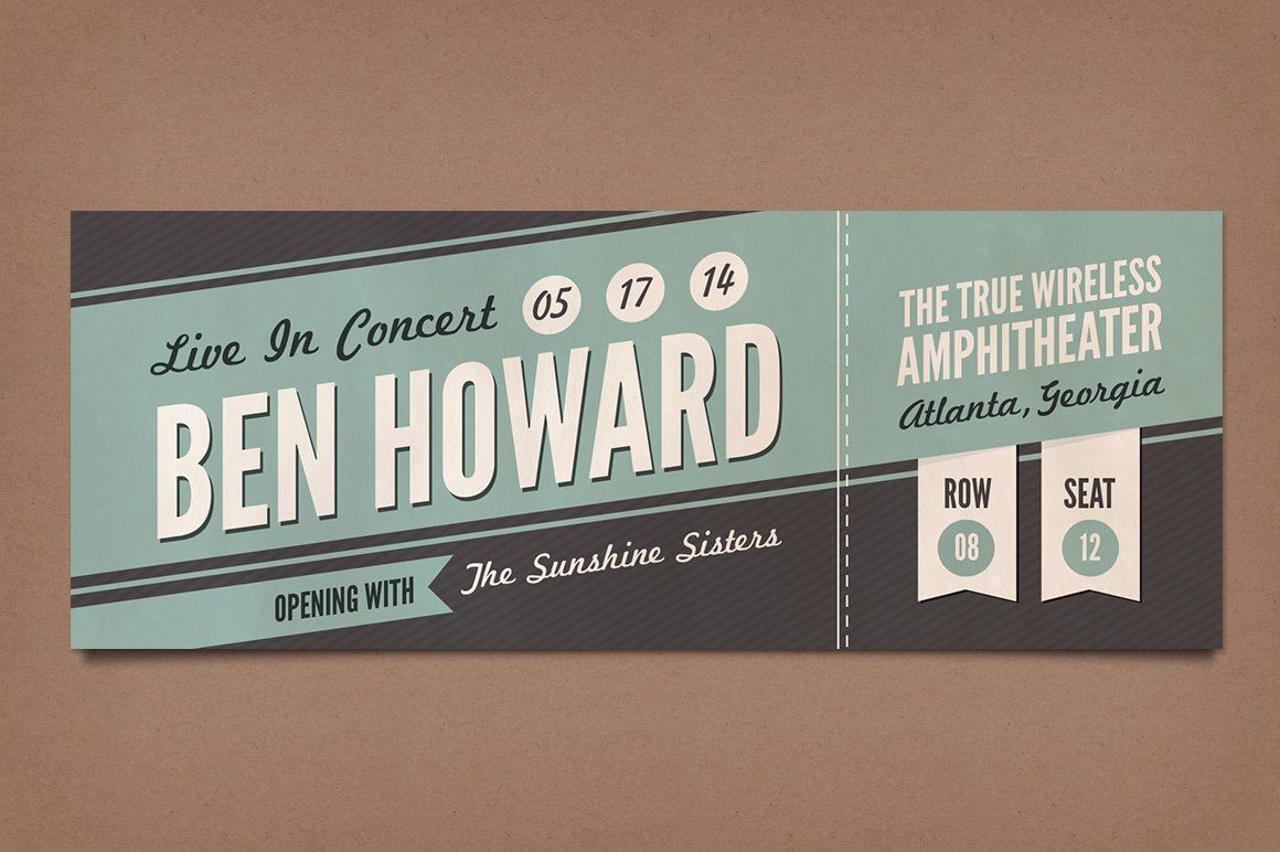 Concert Ticket Template Psd New Retro Concert Tickets Stationery Templates On Creative