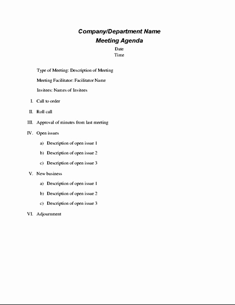 Conference Call Agenda Templates Elegant formal Meeting Agenda