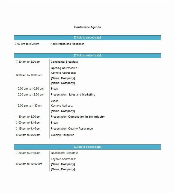 Conference Call Agenda Templates New 8 Conference Agenda Templates – Free Sample Example