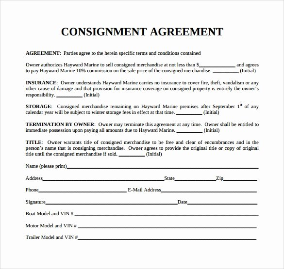 Consignment Agreement Template Free Awesome 11 Sample Consignment Agreements Word Pdf