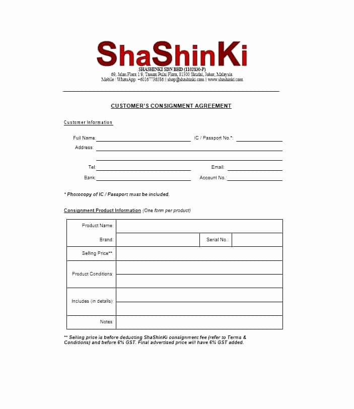 Consignment Agreement Template Free Awesome 40 Best Consignment Agreement Templates & forms