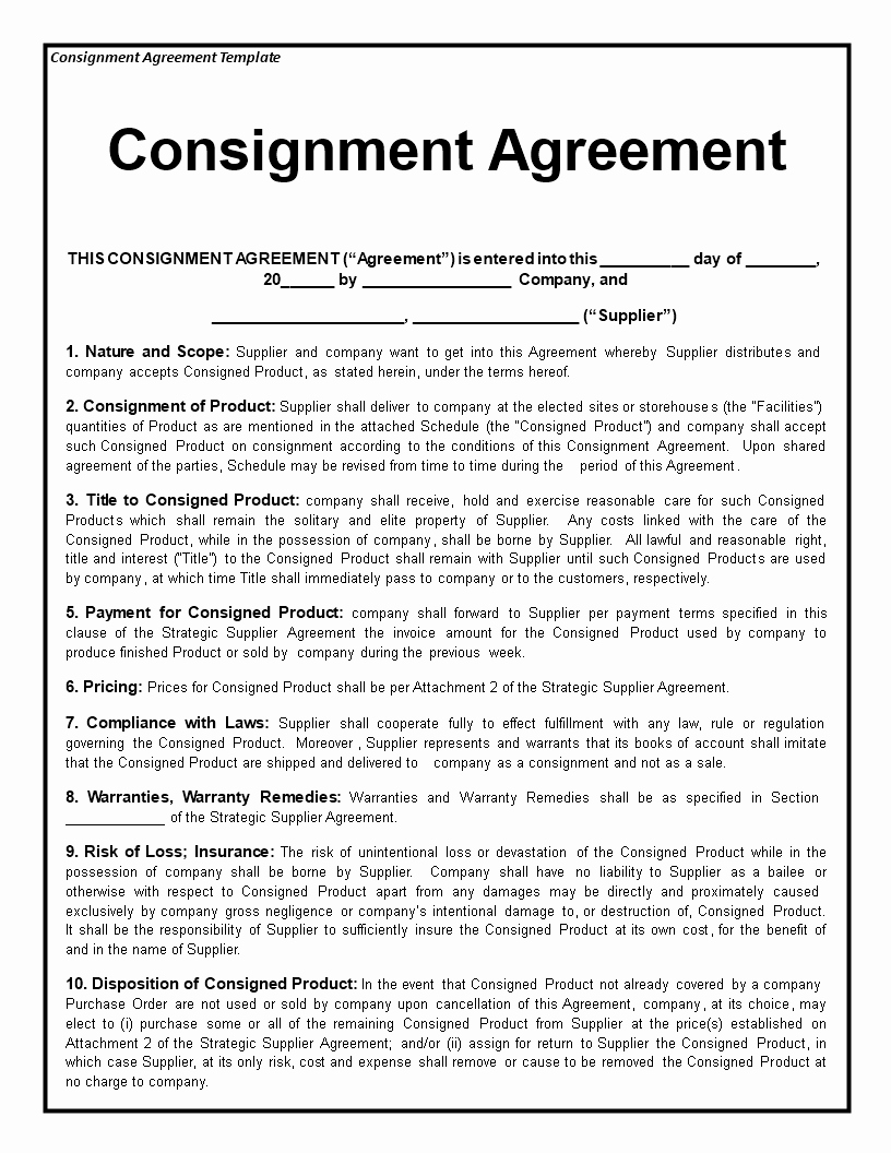 Consignment Agreement Template Free Awesome Consignment Agreement