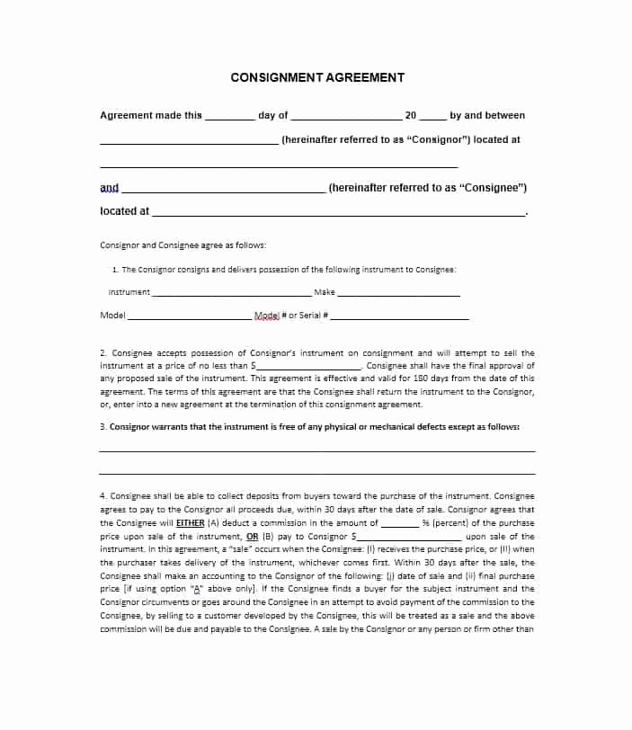 Consignment Agreement Template Free Beautiful 40 Best Consignment Agreement Templates & forms