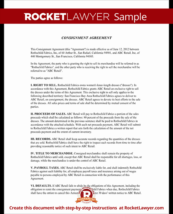 Consignment Agreement Template Free Best Of Consignment Agreement form Consignment Contract Template