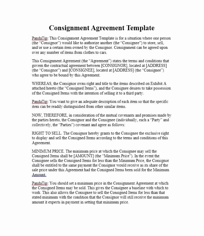 Consignment Agreement Template Free Fresh 40 Best Consignment Agreement Templates & forms