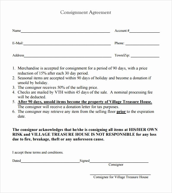 Consignment Agreement Template Free Inspirational 11 Sample Consignment Agreements Word Pdf