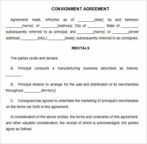 Consignment Agreement Template Free Inspirational 15 Consignment Agreement Samples and Templates – Pdf