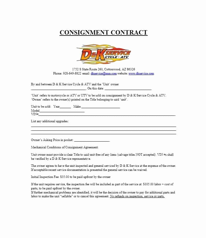 Consignment Agreement Template Free Inspirational 40 Best Consignment Agreement Templates & forms