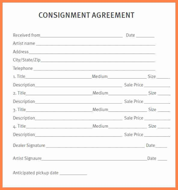 consignment agreement form templates