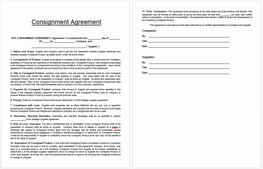 Consignment Agreement Template Free Inspirational Consignment Agreement Template Templates