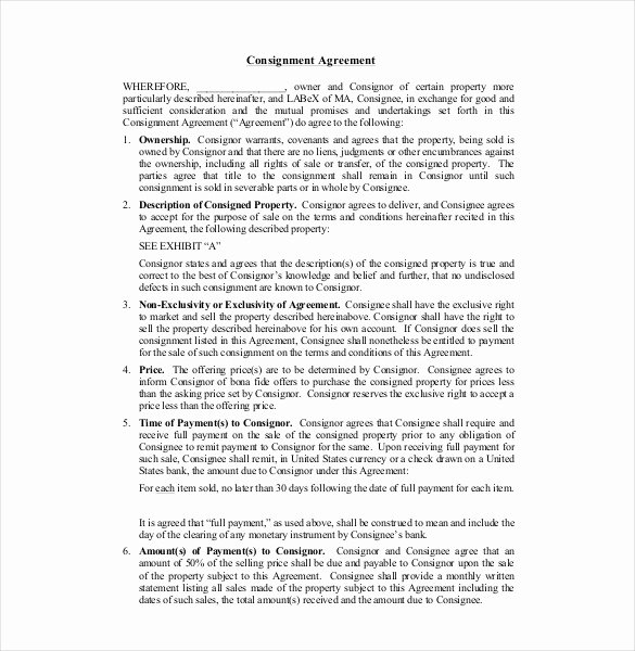 Consignment Agreement Template Free Lovely 16 Consignment Agreement Templates Word Pdf Pages