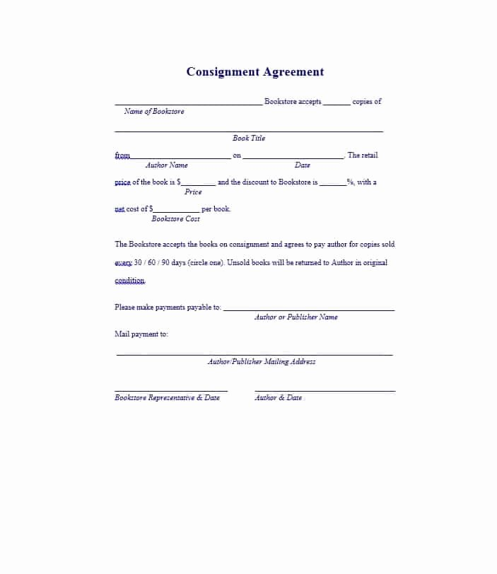 Consignment Agreement Template Free Lovely 40 Best Consignment Agreement Templates & forms