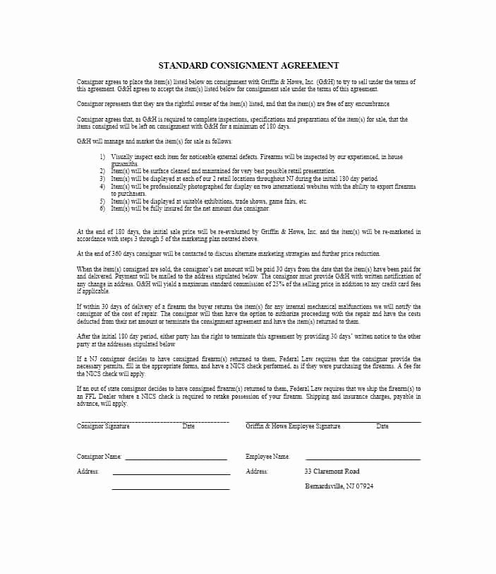 Consignment Agreement Template Free New 40 Best Consignment Agreement Templates & forms