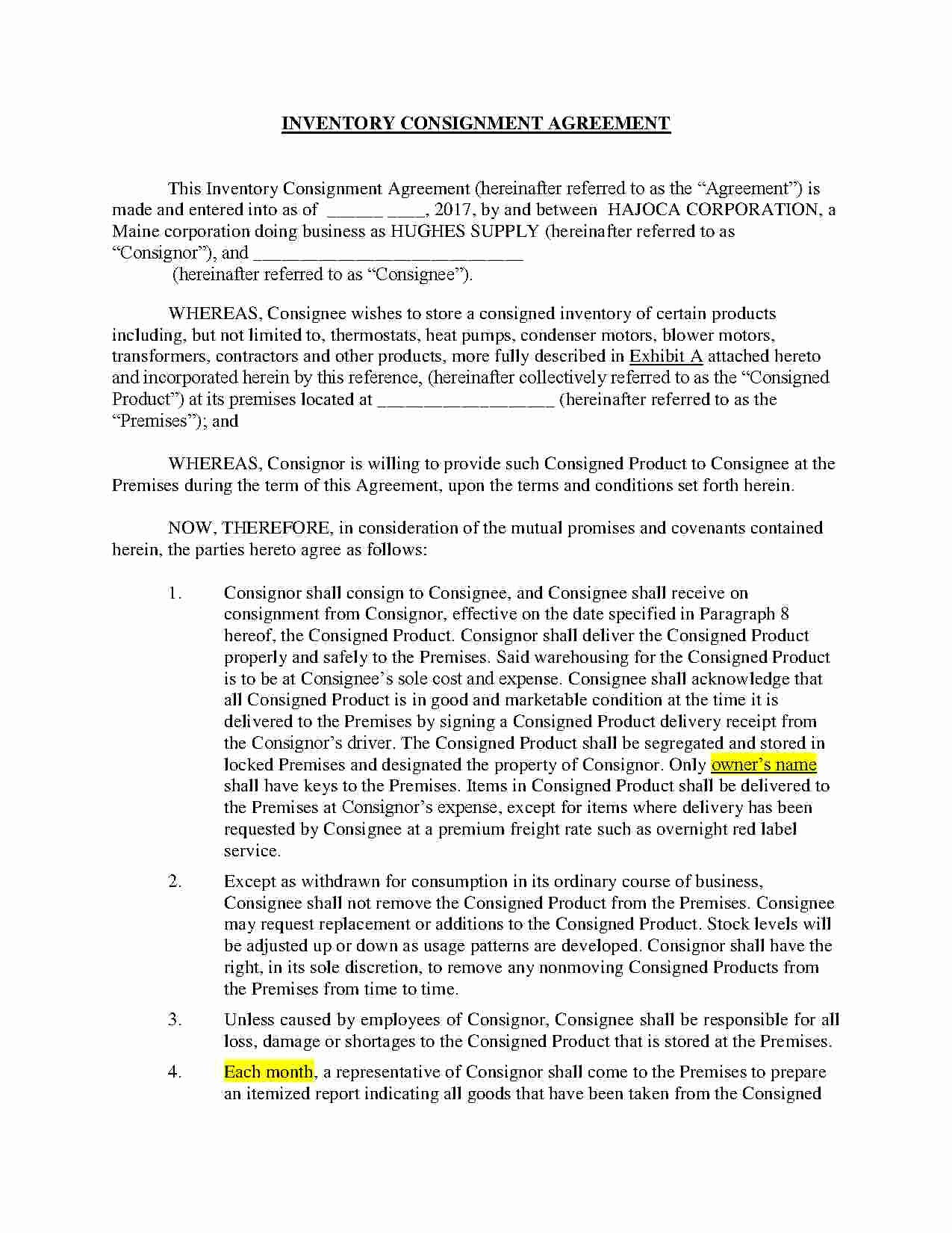 Consignment Agreement Template Free New Download Consignment Agreement Style 5 Template for Free