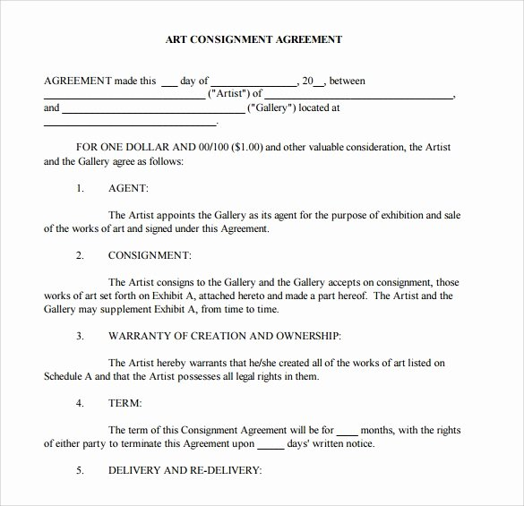 Consignment Agreement Template Free Unique Free 18 Sample Consignment Agreement Templates In Google