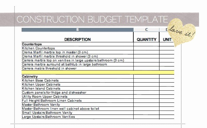 Construction Budget Template Excel Awesome Home Renovation Cost Spreadsheet Samplebusinessresume