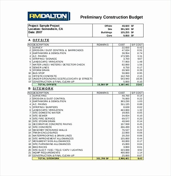 Construction Budget Template Excel New 13 Excel Bud Template Mac