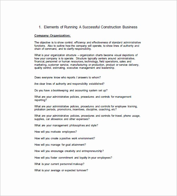 Construction Business Plan Template Elegant 15 Construction Business Plan Templates Word Pdf