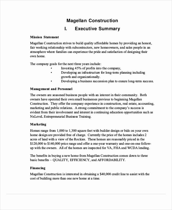 Construction Business Plan Template Fresh Free 59 Business Proposal Examples & Samples In Pdf