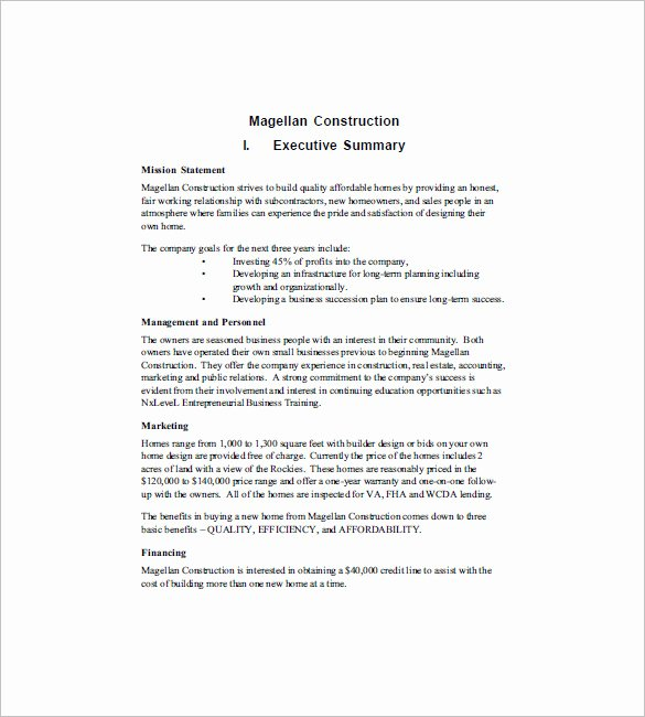 Construction Business Plan Template Unique 15 Construction Business Plan Templates Word Pdf